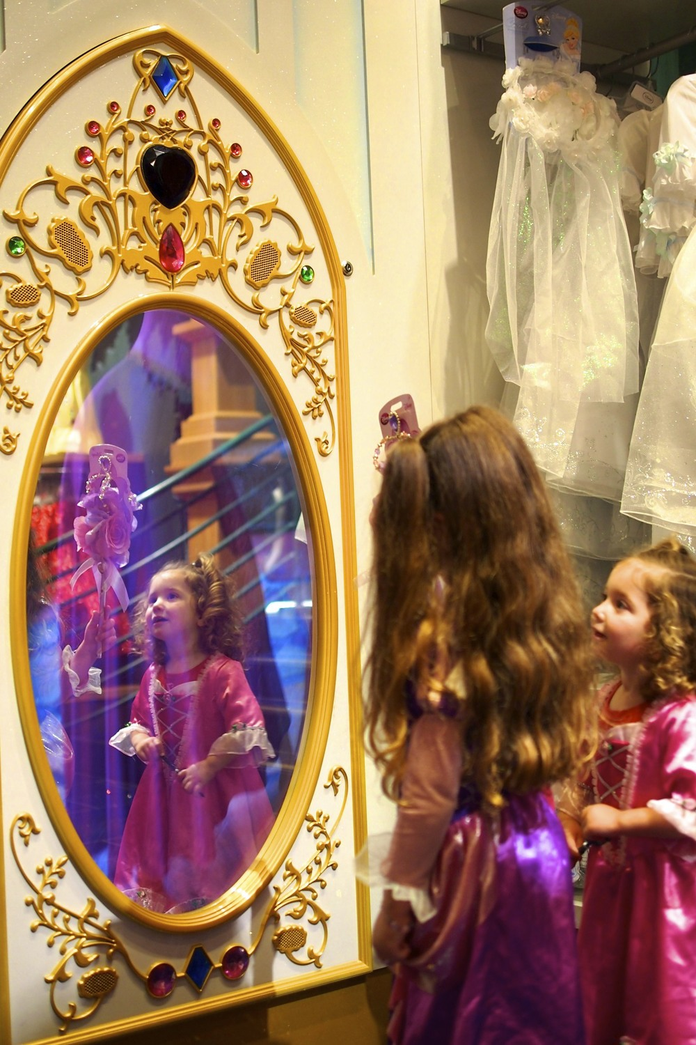 Visiting with the princesses in the magical mirror.