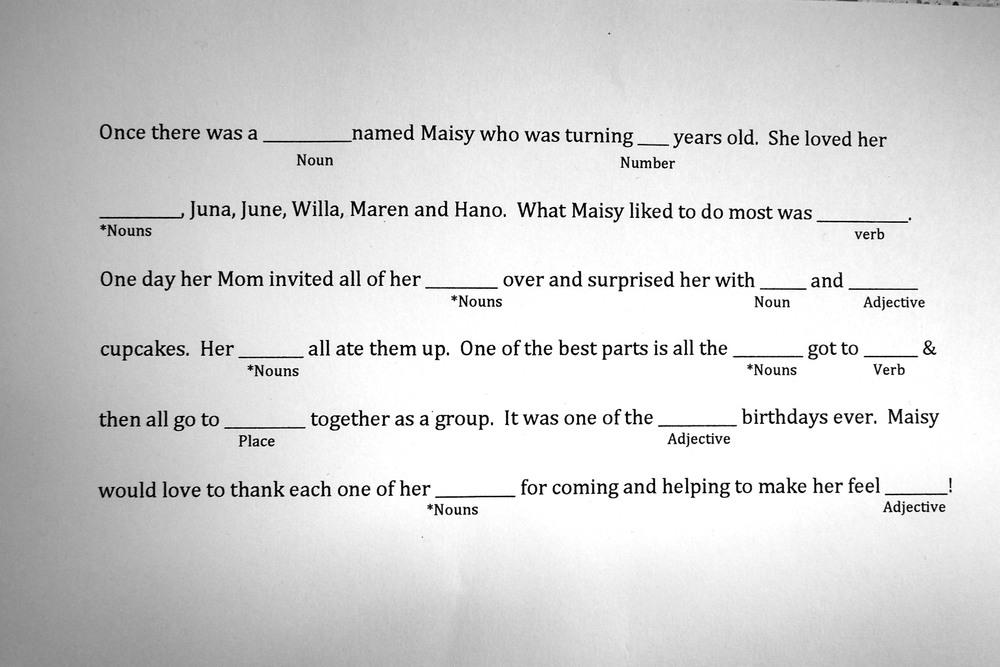 Maisy's birthday Mad Lib.