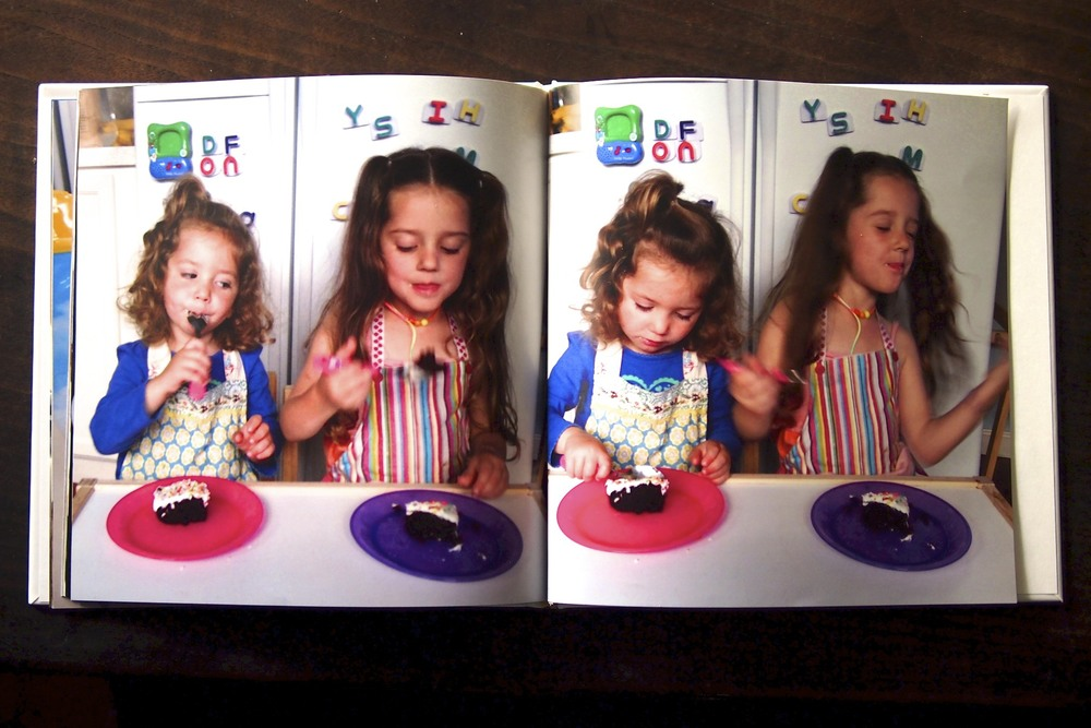 Maisy and Maren showing how to eat their creation.
