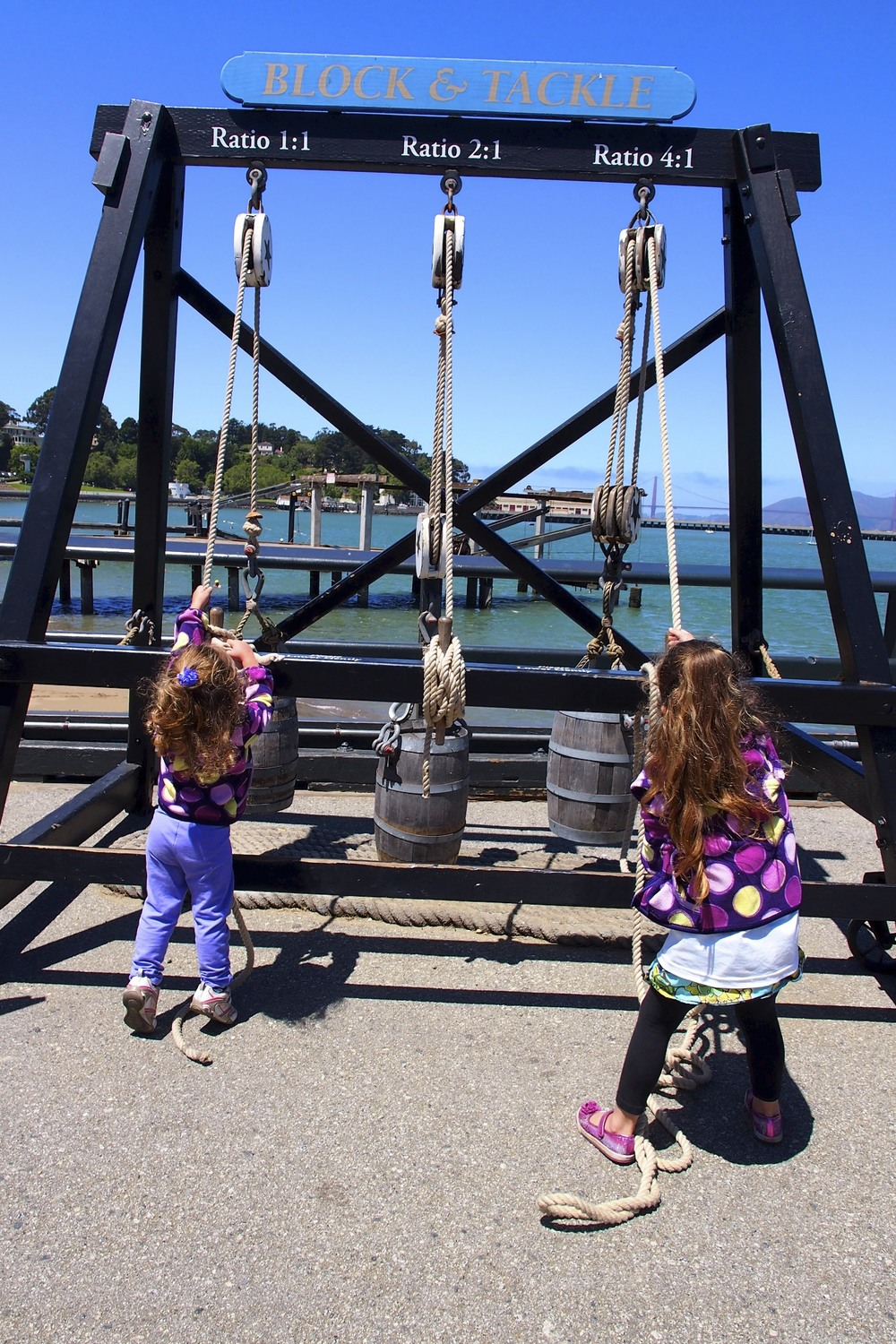 Maren and Maisy testing the pulley systems of ships.