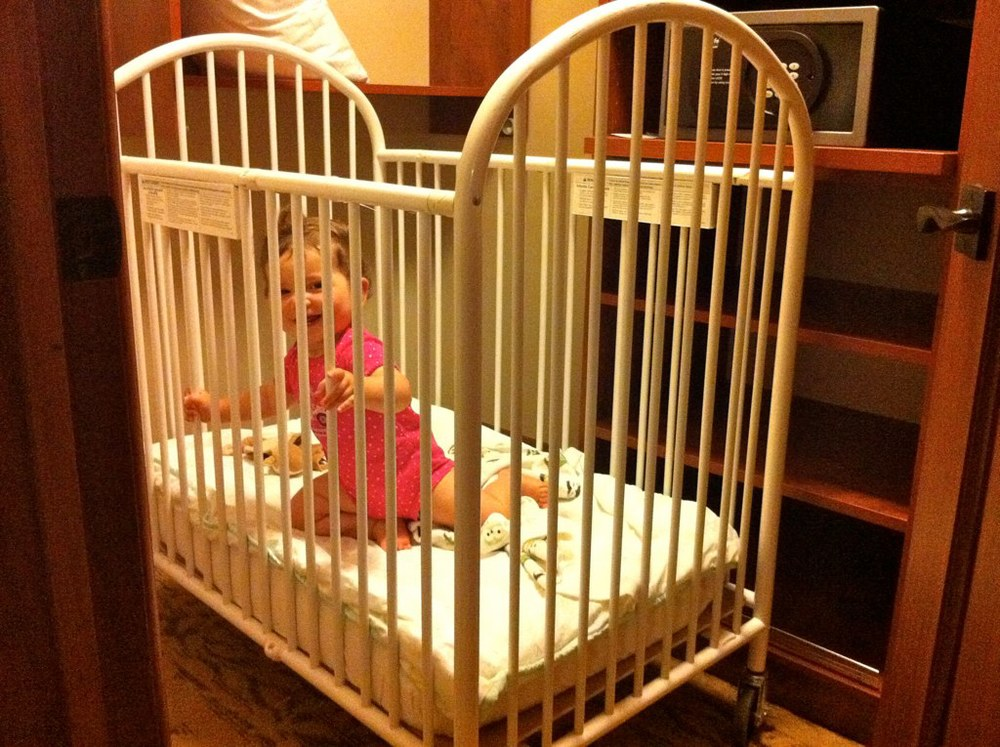 Having to put the baby in a HUGE closet in an orphanage looking crib to make a bit of extra room, so she didn't wake her sister with her horrible sleeping rituals that came with travel.