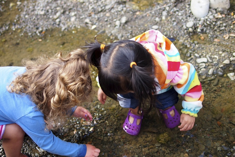 Exploring rocks, moss, tadpoles, frogs and fishies.