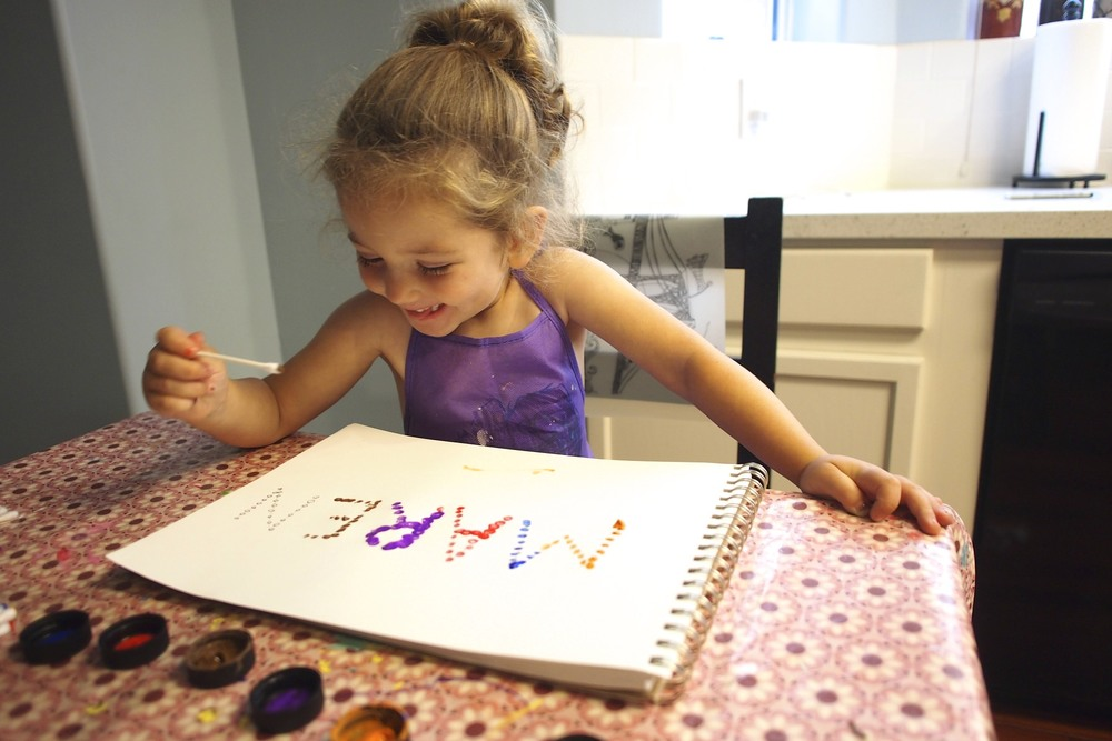 Practice letter recognition through fine motor skills and painting.