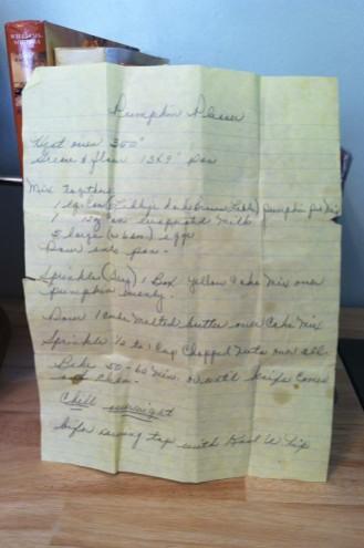 I love that my mom has Grandma's handwritten recipe for her Pumpkin Pleaser.