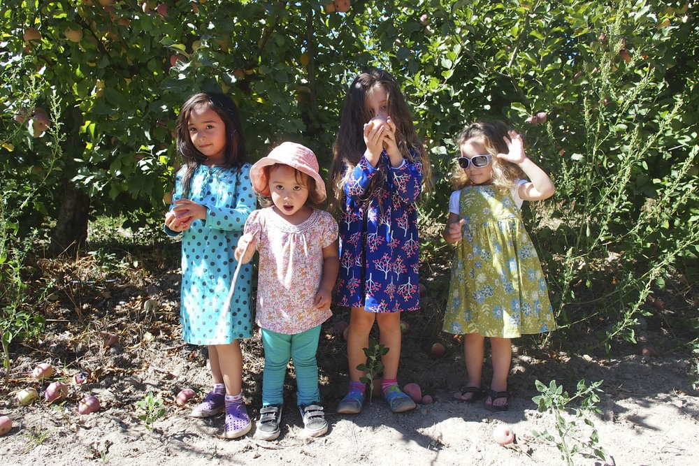 Kids in the apple orchard at Twin Hill Ranch.