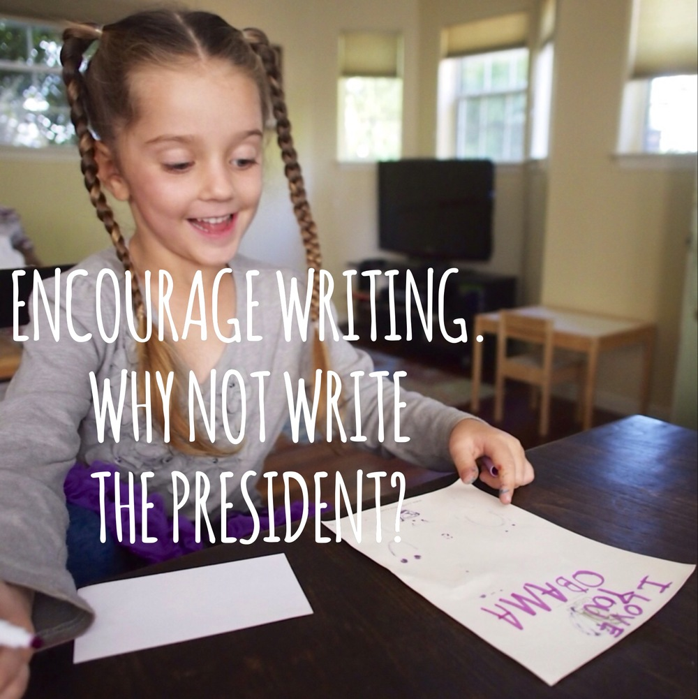 Encourage and foster interest in your kids.  Why not write the president?