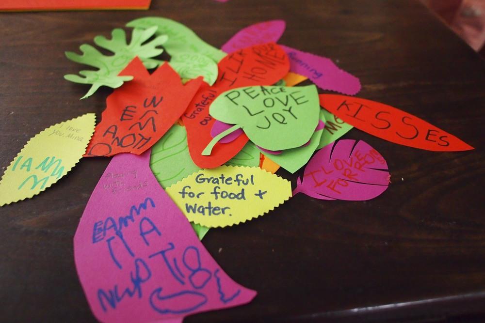 Our gratitude leaf pile.