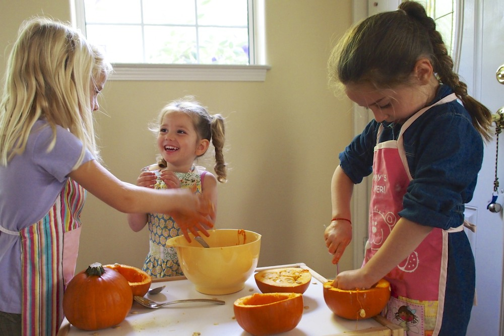 Pumpkin pie from scratch(ish) with kids