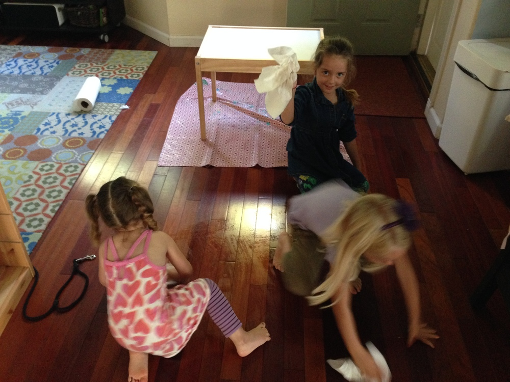 The kids INSISTED they helped to clean. I kept offering play as a fun alternative, but they were focused on cleaning and dusting.  Not a bad side effect to cooking with these three.