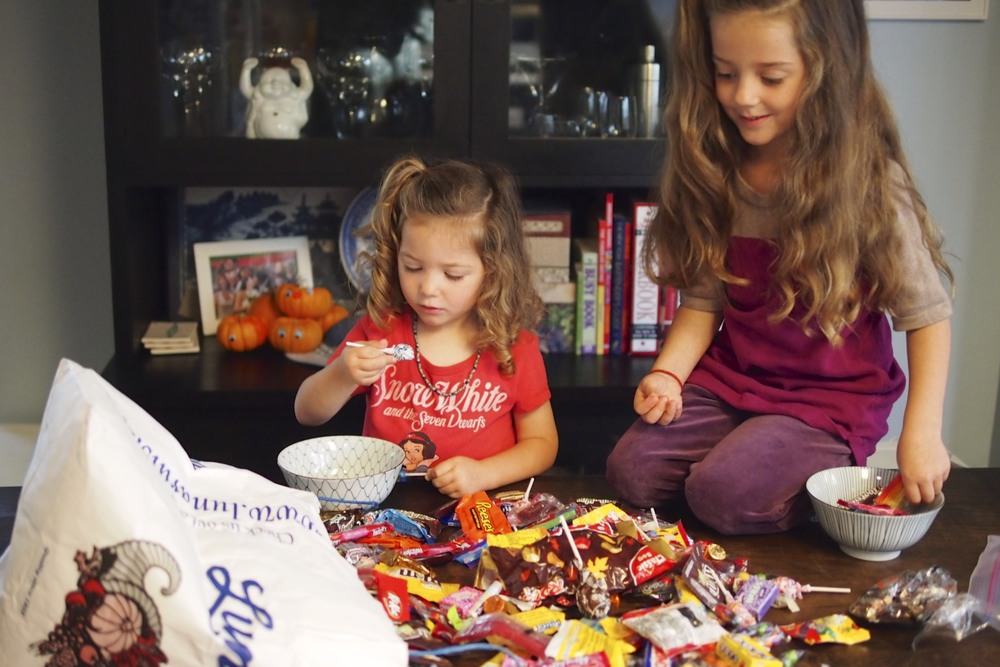carefully curating their candy donation - Halloween Candy Kids