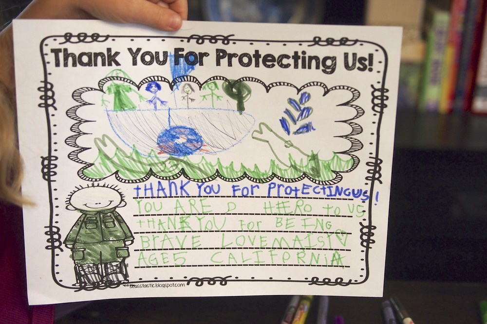 Thank you for protecting us! You are a hero to us.  Thank you for being brave. Love, Maisy, Age 5, California