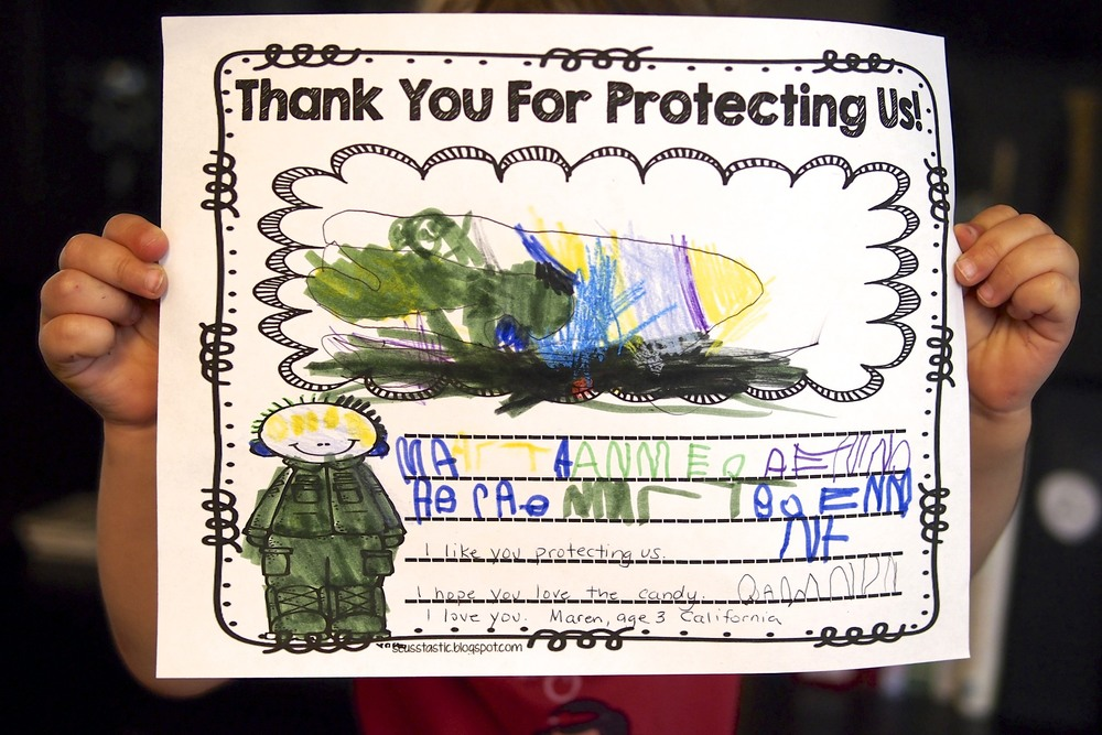 I like you protecting us.  I hope you love the candy. I love you.  Maren, Age 3, California
