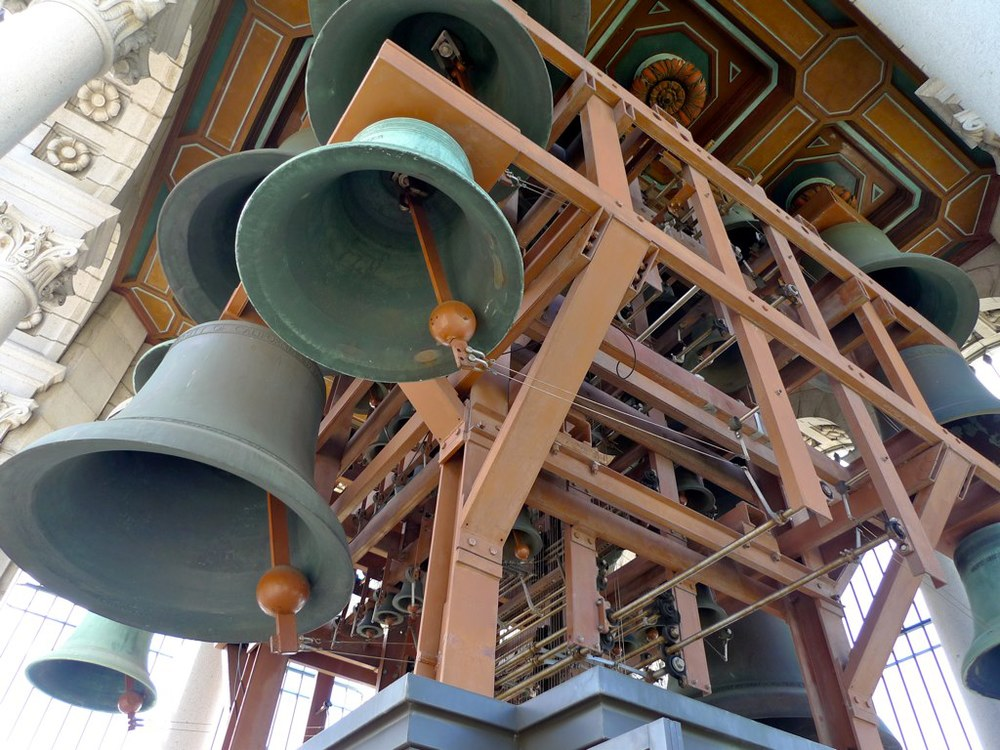 The carillon. There are 61 bells weighing from 19 to 10,500 pounds. The carillonists play a little show every day at 7:50 am, 12 pm, & 6 pm, longer on Sundays at 2 pm.