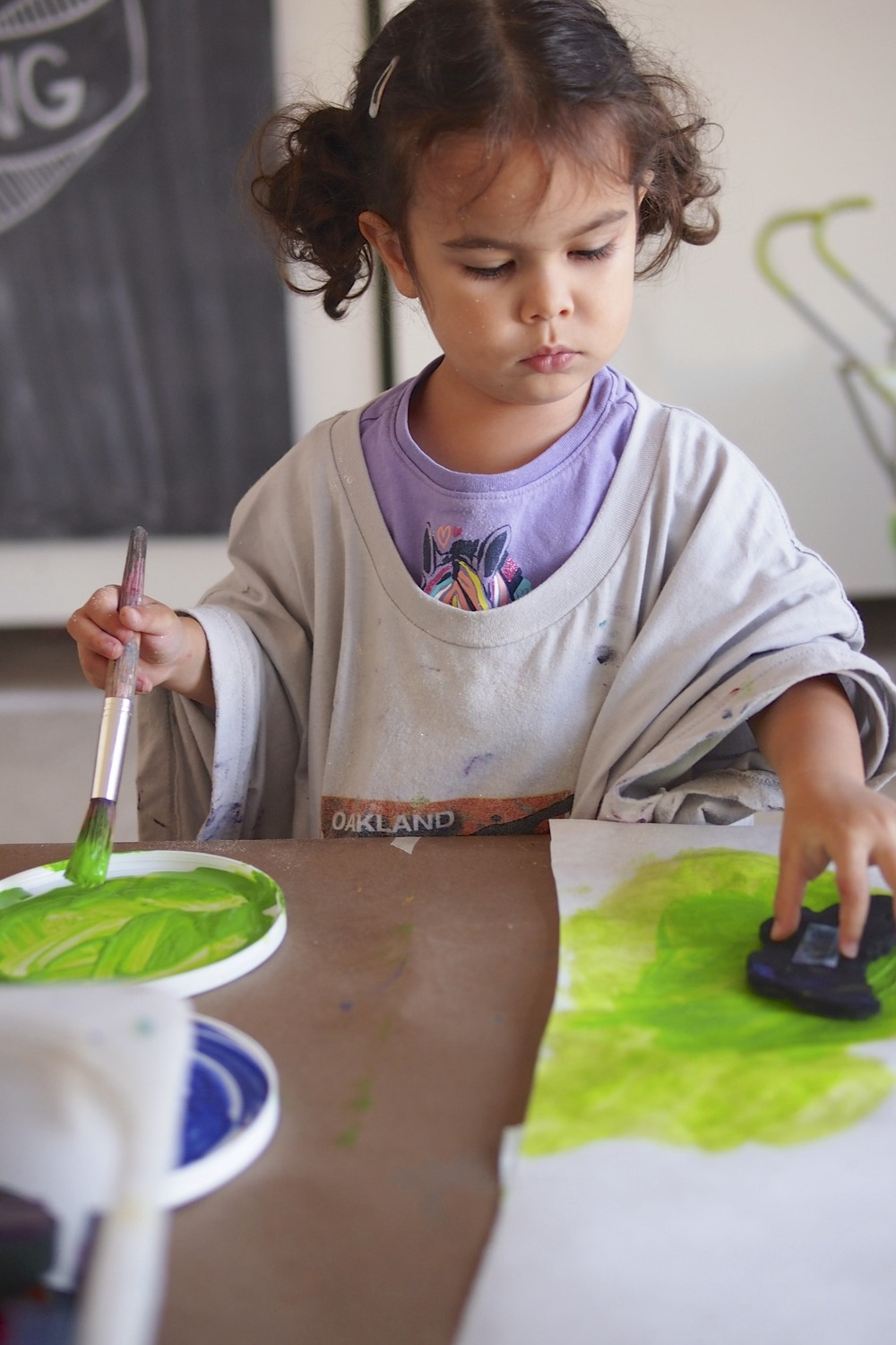 Stamping in paint.