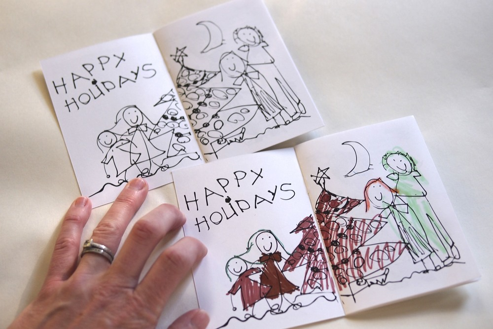 A family Christmas card coloring book.  Awesome!