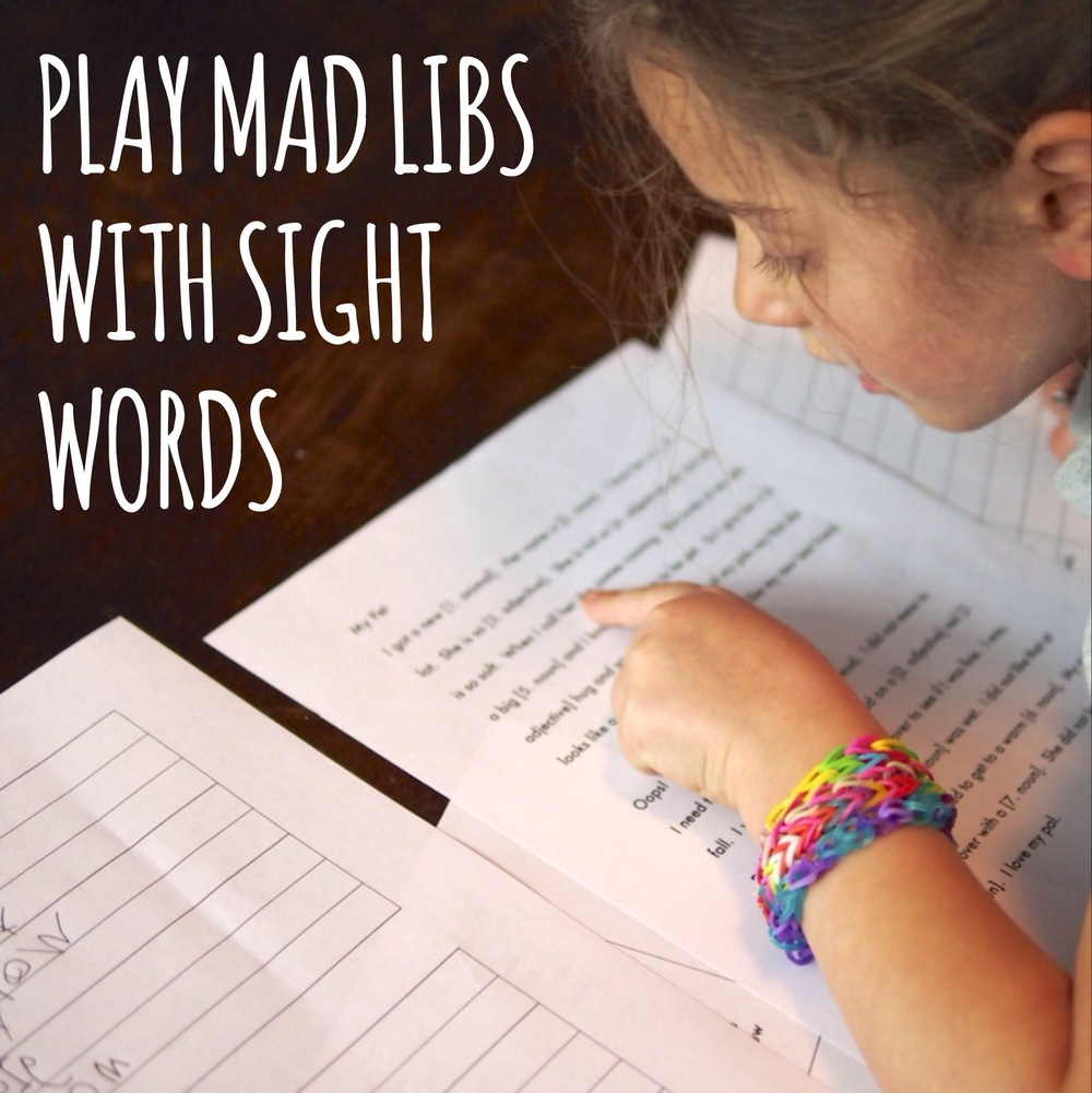 Kindergarten #sightwords mad libs.