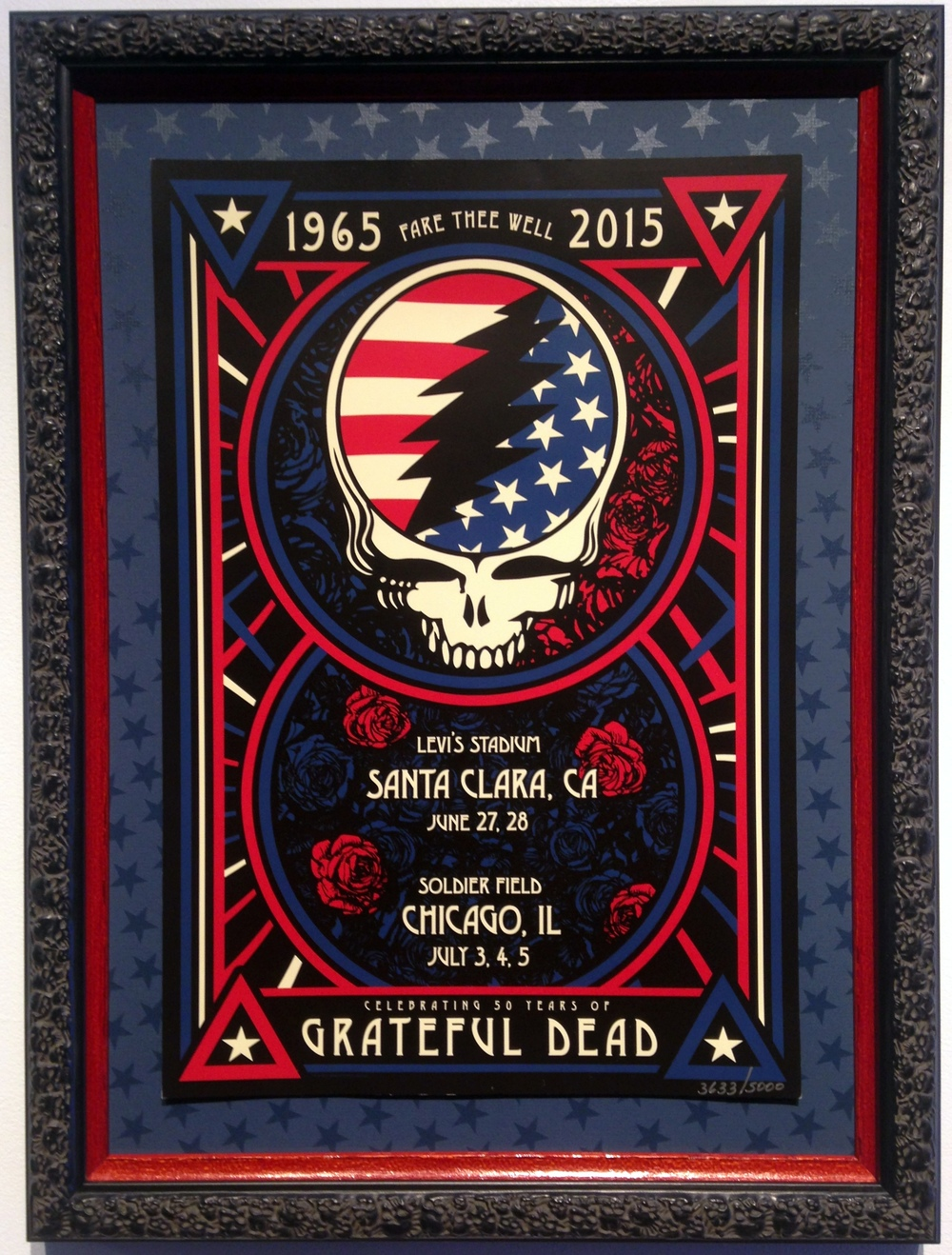 Grateful Dead, framed with custom star mat and double frame with skulls from Direct Moulding
