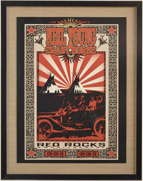 Neil Young at Red Rocks by artist Richard Biffle