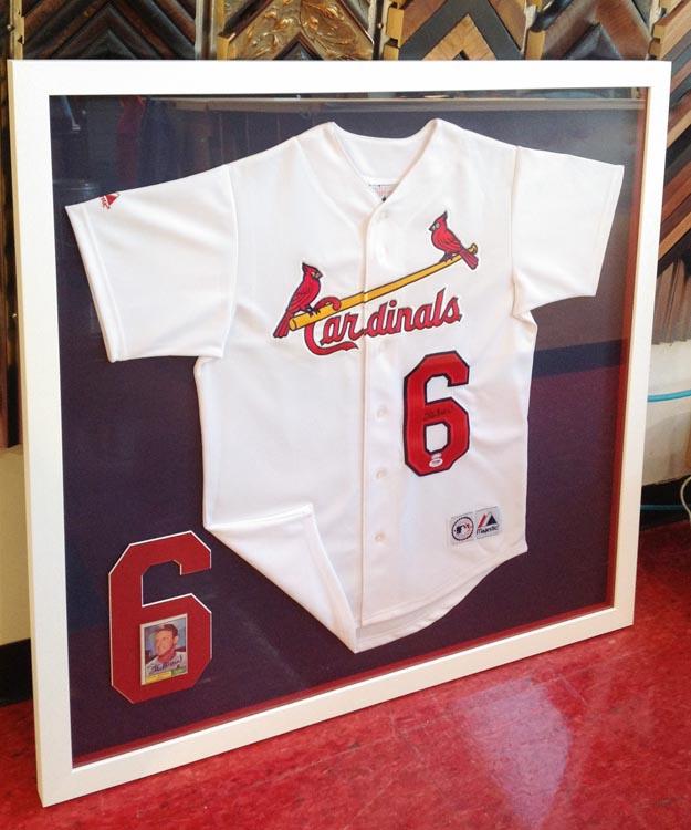 baseball jersey framing, jersey framing, Cardinal jersey
