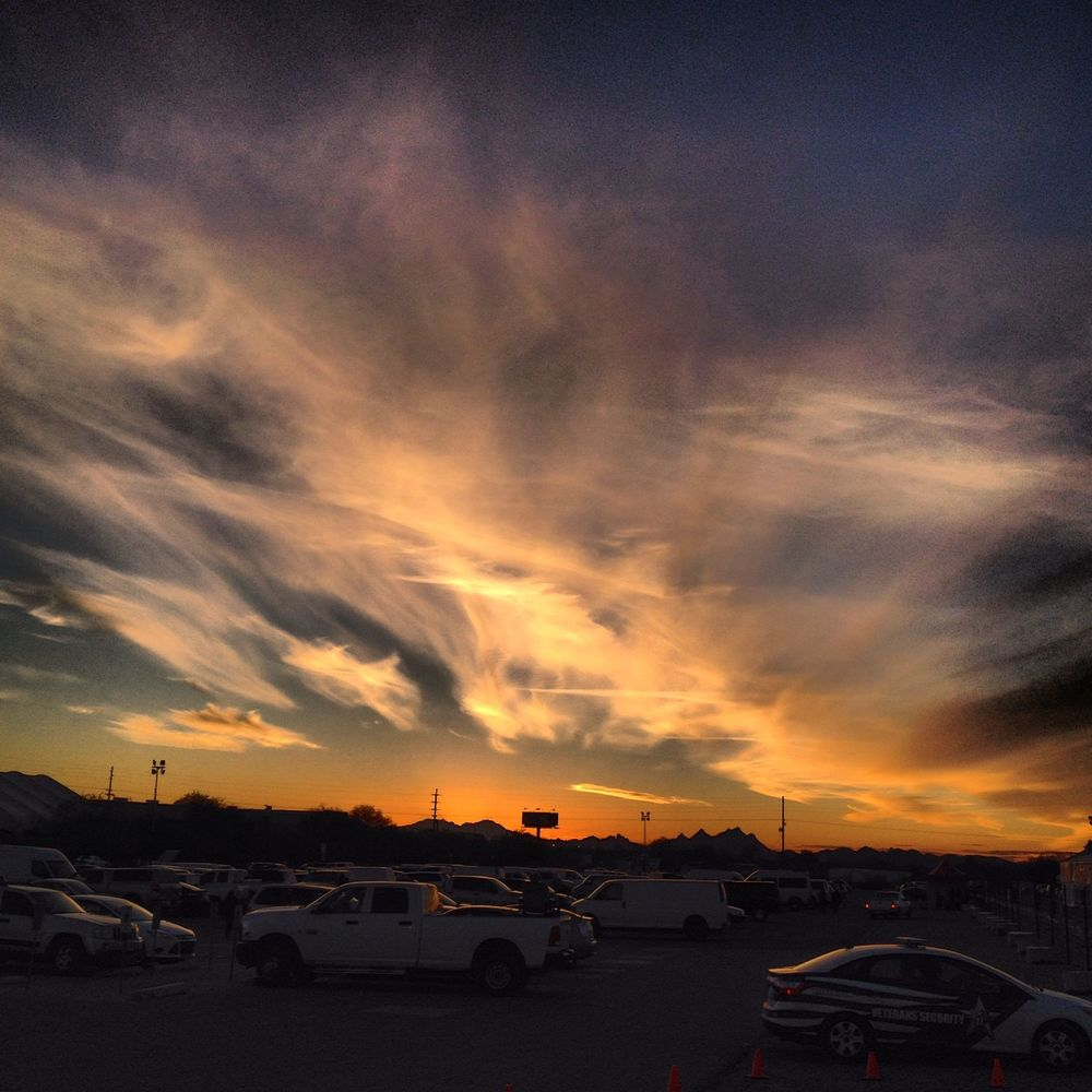 Sunset over the Gem Mall parking lot
