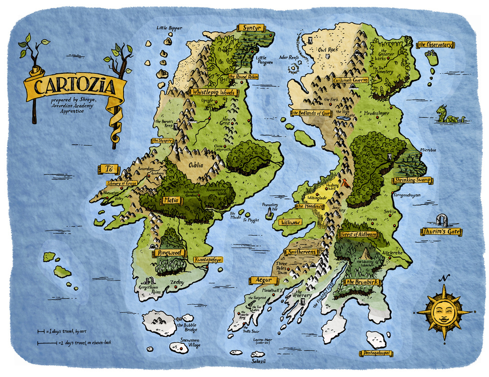 Cartozia, as mapped by Shreya the Apprentice Cartographer, for Cartozia Tales #1.