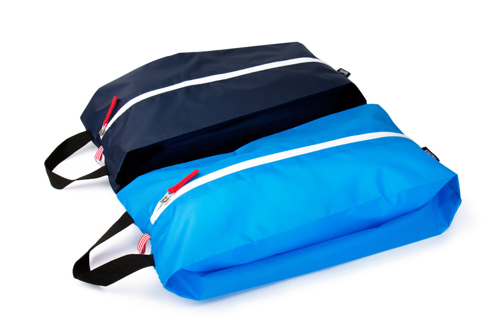 No. 306 Travel organiser bags / shoe bags - size L - midnight and sky blue € 21,-