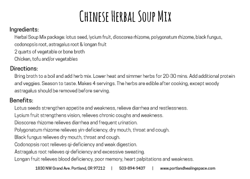 Chinese herbal soup mix back