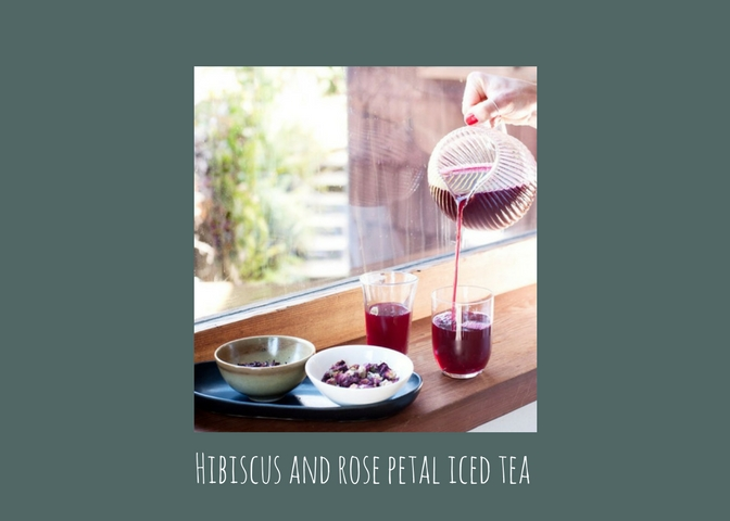 Refresh with hibiscus and rose petal iced tea