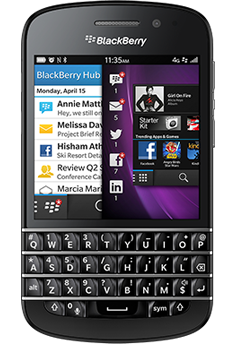 This is the BlackBerry Q10, BlackBerry's flagship keyboard phone with BlackBerry 10.