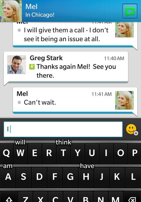 This is how BBM, BlackBerry's proprietary messaging service, looks in BlackBerry 10.