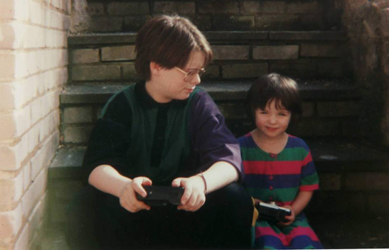 My sister Steph and I circa 1991. I can confirm that she has now learned to hold the camera the right way around.