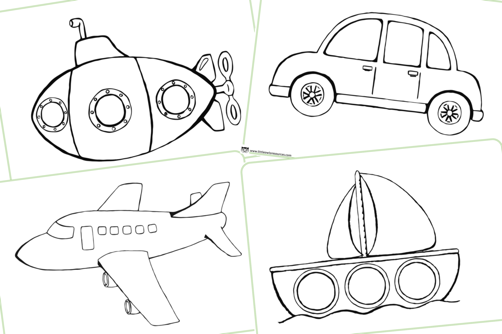 Vehicles/Travel/Transport Theme/Topic Colouring Pages/Activity
