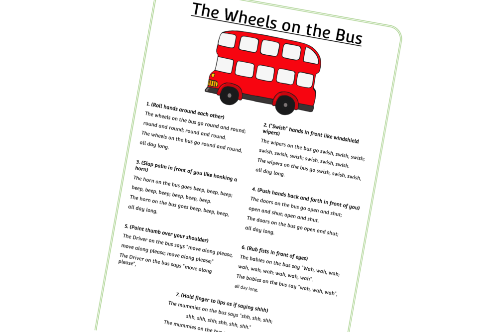 'The Wheels On The Bus' Action Song/Rhyme/Words
