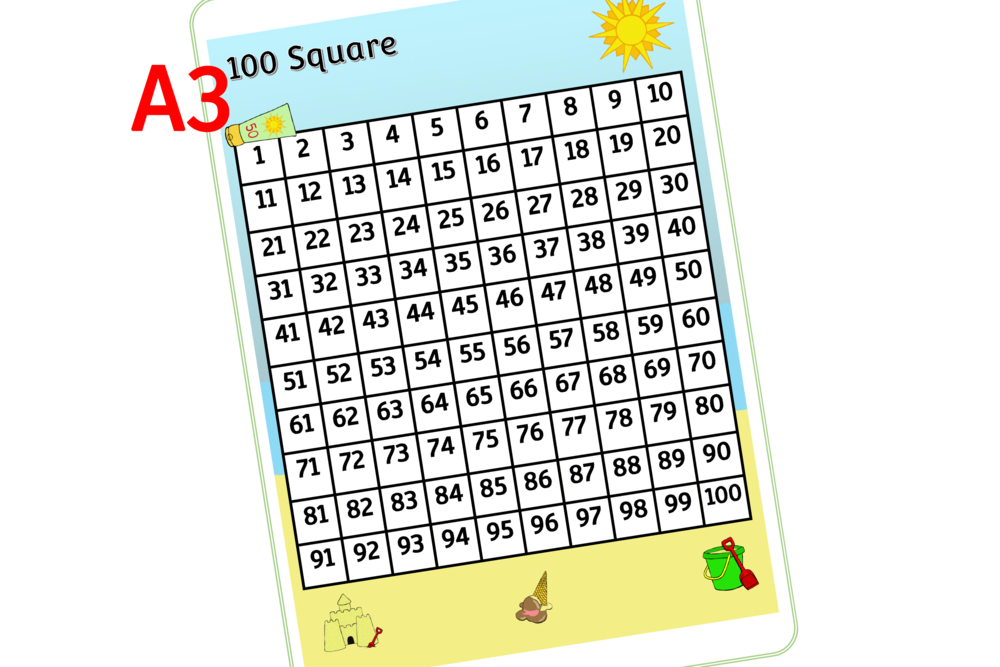 Summer Theme/Topic 100 Square - A3