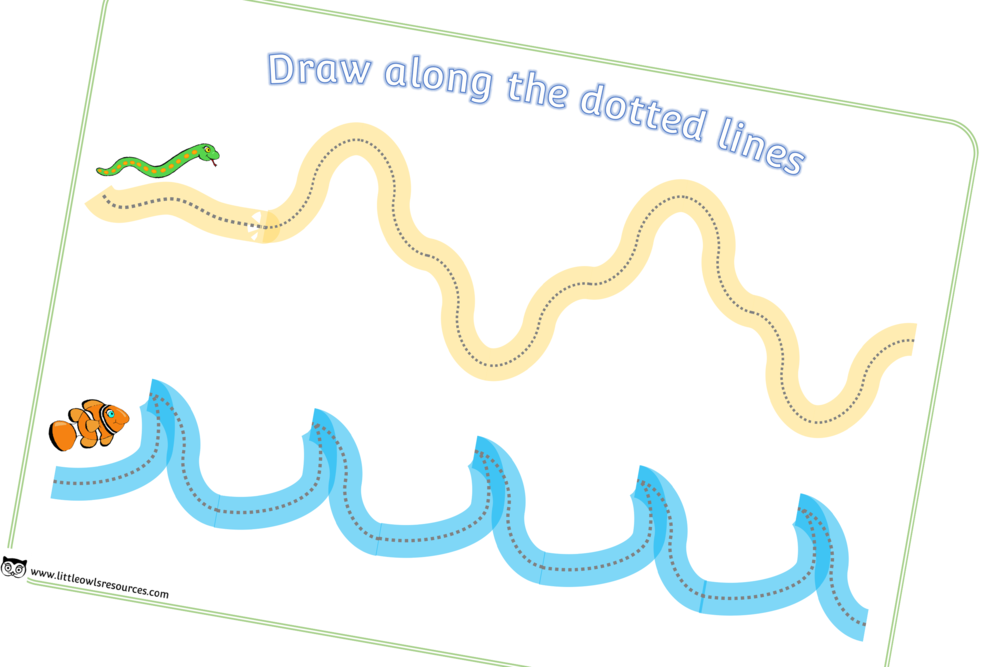 Draw along the dotted lines fine motor skills snake & fish sheet/activity/worksheet