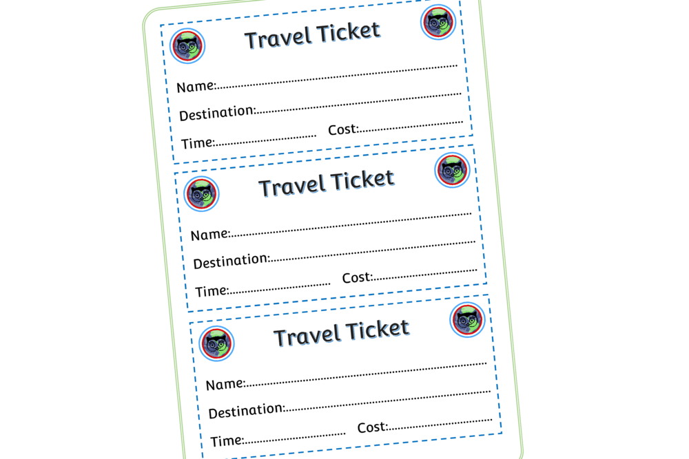 Aeroplane Travel Ticket Mark Making Prompt/Role-Play Activity