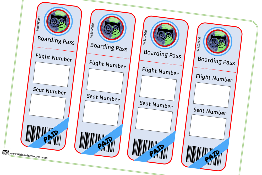 Aeroplane/Airport Boarding Pass Role-Play/Mark Making Prompt