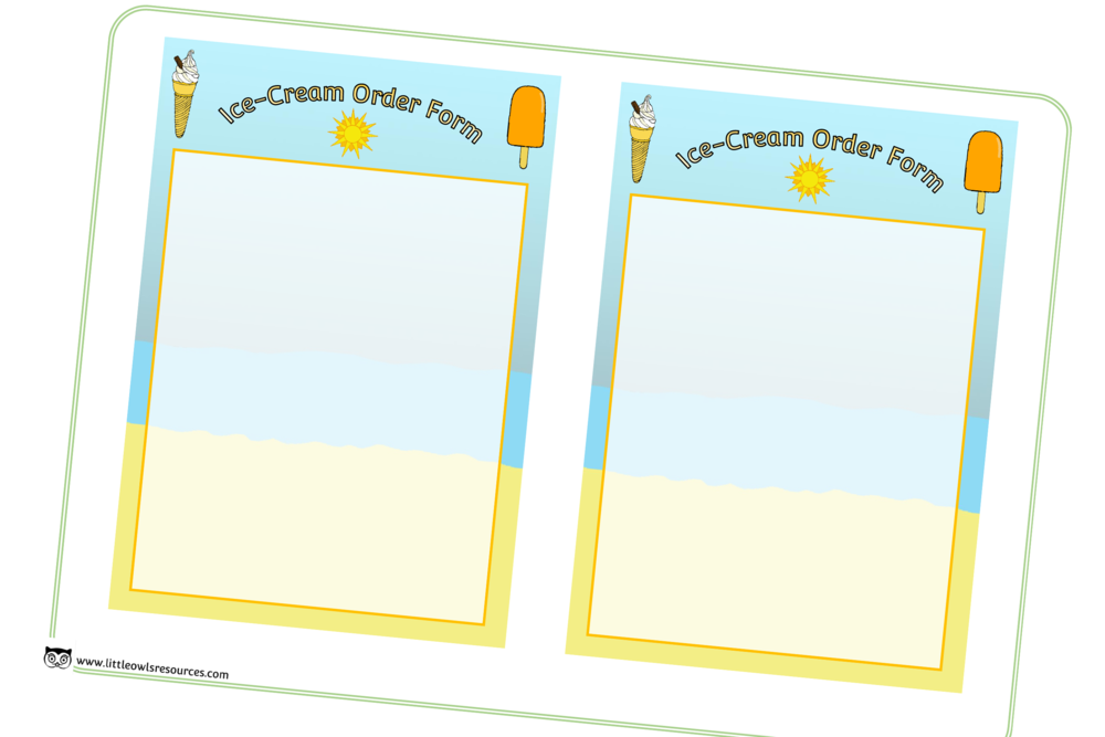 Ice Cream Shop Role-Play Order Forms/Mark Making Prompts