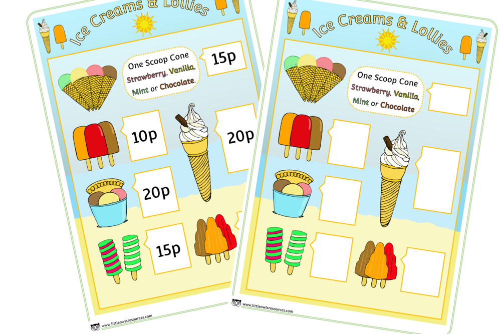 Ice Cream Shop Menus/Role-Play/Writing/Mark Making Prompts/Posters