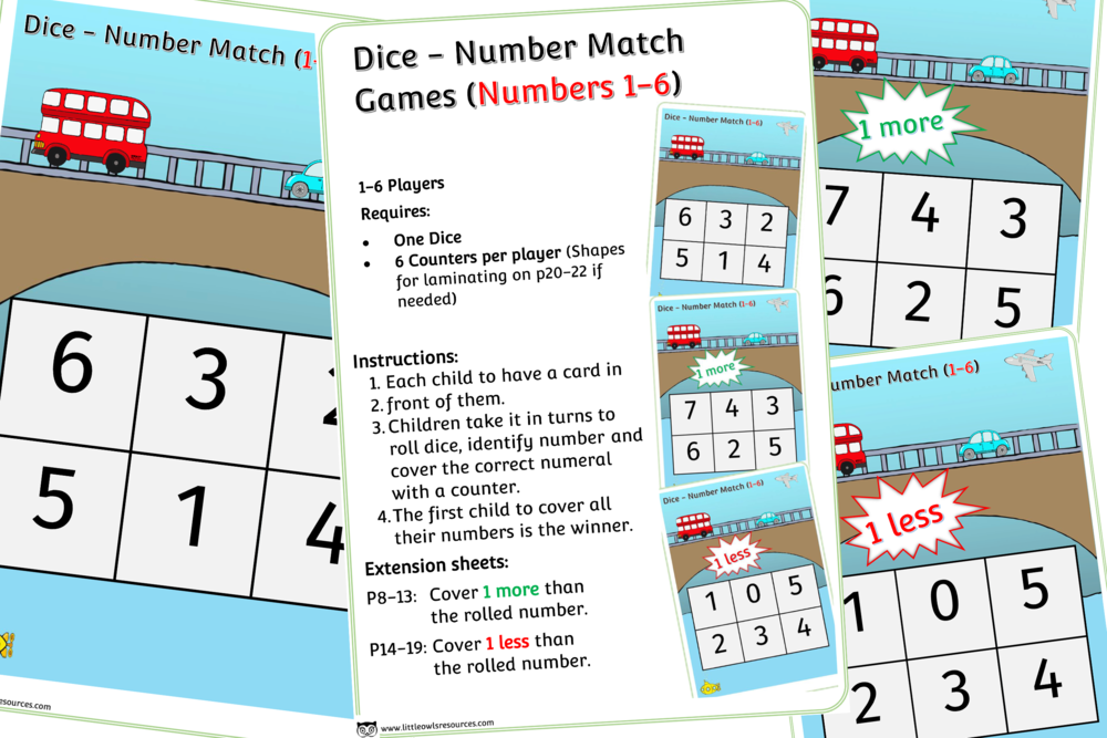 VEHICLES THEME DICE GAMES (1-6)