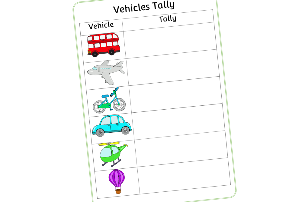 VEHICLES TALLY SHEET