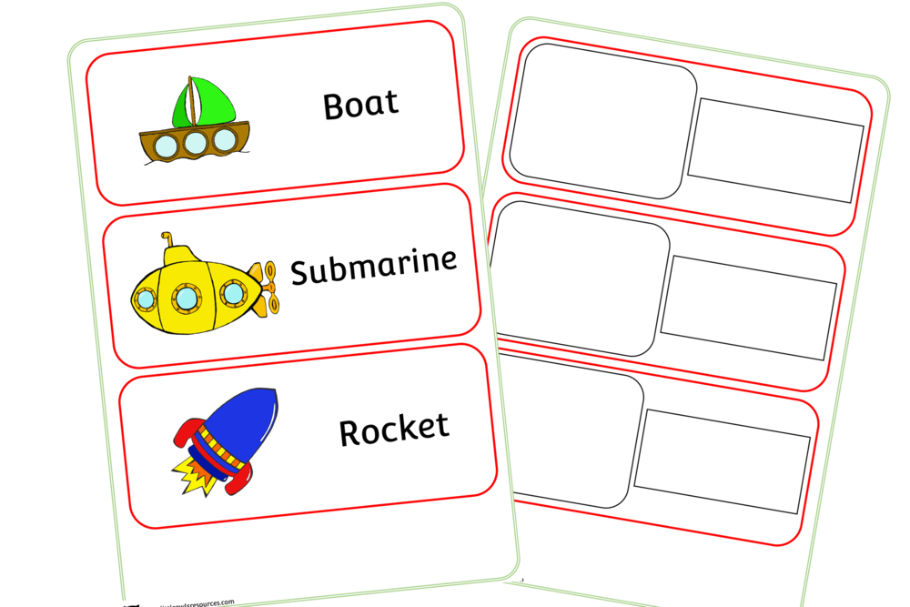 Vehicle Word Cards