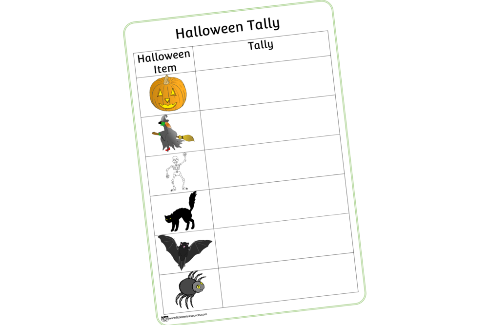 Halloween Tally Chart/Hunt Sheet