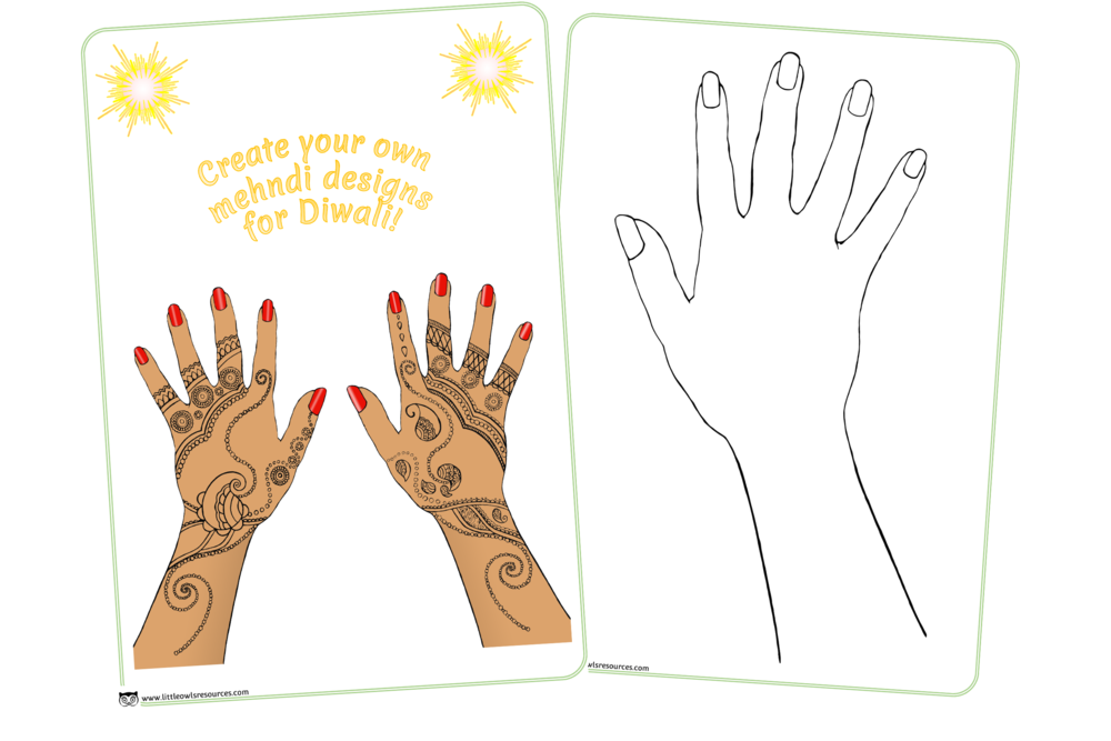 Create your own mehndi designs activity sheets