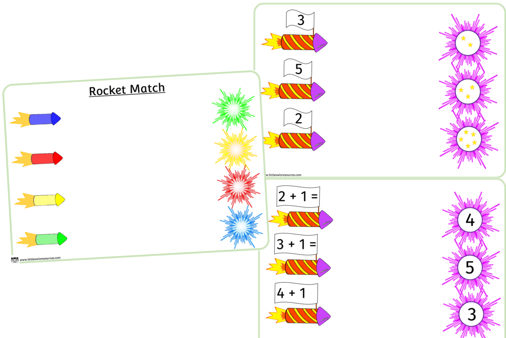 Rocket matching colours/numbers/plus 1 activity sheets