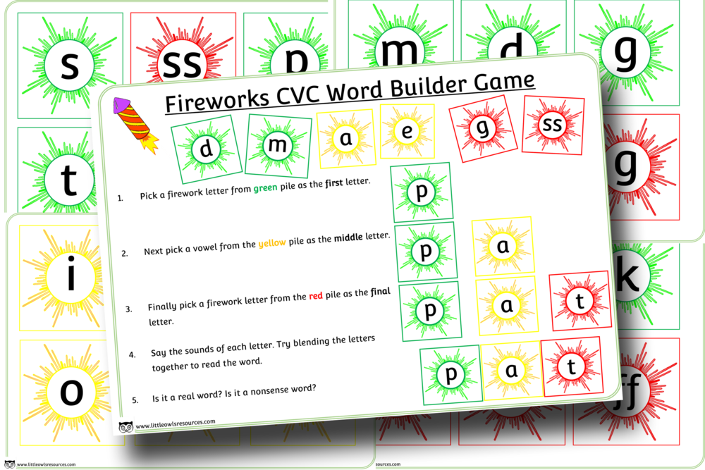 Firework CVC word builder game/activity