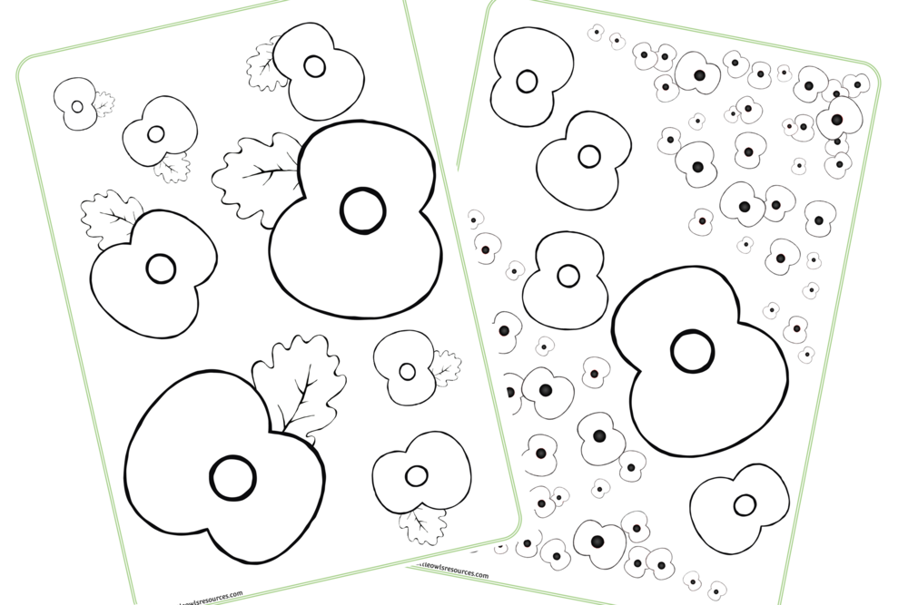 POPPY COLOURING SHEETS