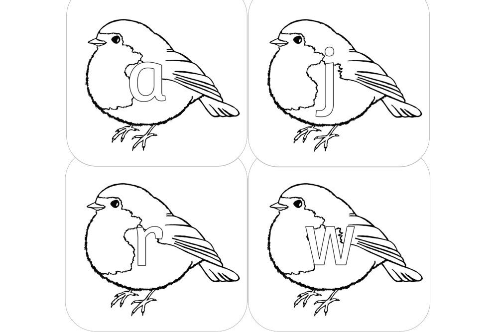 free winter robin alphabet colouring printable early years ey eyfs