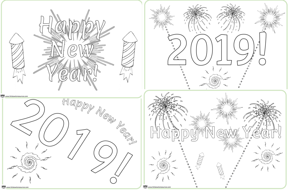 Happy New Year colouring pages/sheets