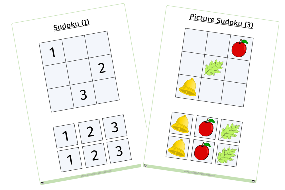 BASIC SUDOKU PUZZLES - PICTURES AND NUMBERS